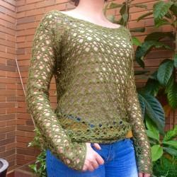 jersey de ganchillo verde