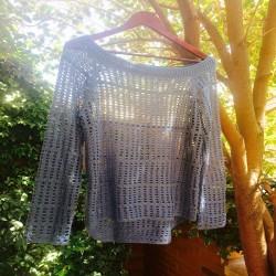 jersey crochet calado azul