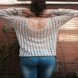 jersey ganchillo gris espalda